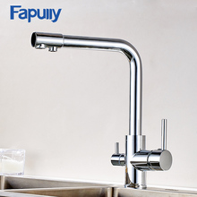 Fapully Degree Rotation Kitchen Faucet Water Filter Deck Mount Chrome Mixer Tap with Purification Features 176