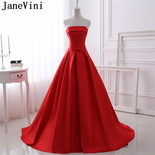 7e0e03451a0 JaneVini Vestidos Simple Red Mother of the Bride Dresses With Pockets  Strapless A Line Evening Gowns Lange Jurken Voor Feestjes