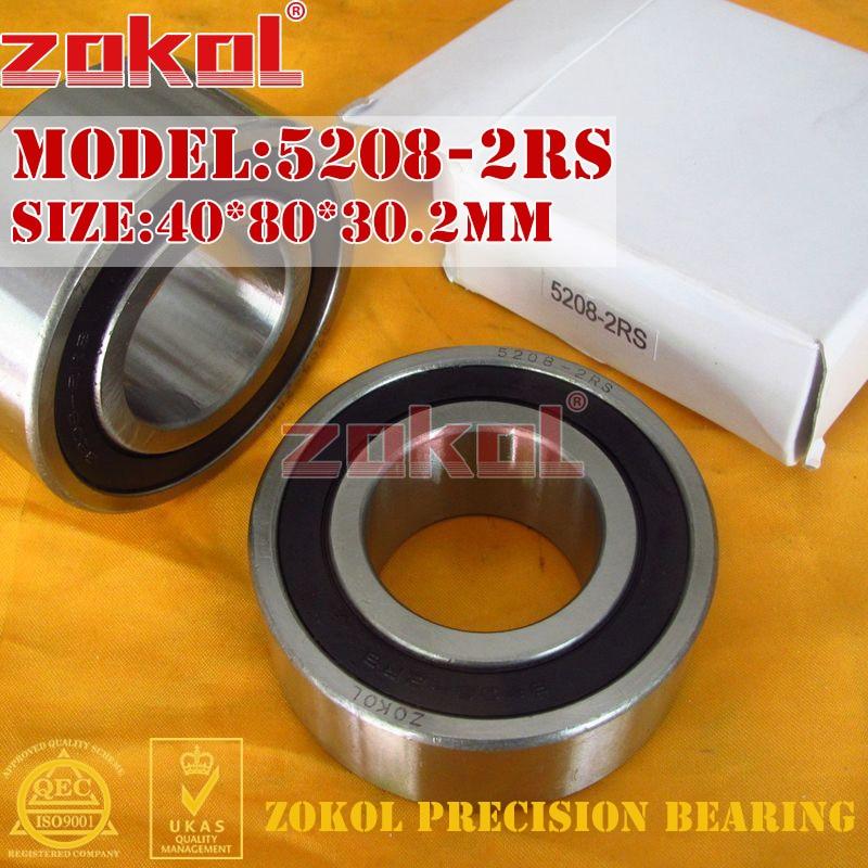 ZOKOL bearing 5208 2RS 3208 2RZ (3056208) Axial Angular Contact Ball Bearing 40*80*30.2mm zokol bearing 5317 2rs 3317 2rz 3056317 axial angular contact ball bearing 85 180 73mm