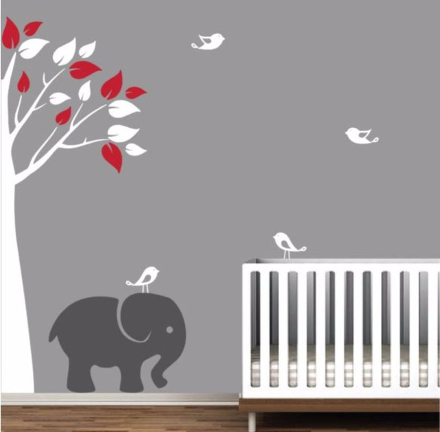 Baby Nursery Wall Stickers Jungle Tree With Elephant Removable Wall Decals  Living Room Bedroom Decoration Diy