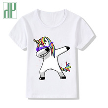 Boy t shirts for children unicorn Dabbing funny t shirts kids tee shirt rock short sleeve baby Girls summer top tee hipster