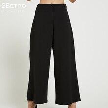 128f0fc1eb SBetro por Suzanne Betro ancho de la pierna Pantalones mujeres elástico  negro Crepe elástico en la cintura de oficina