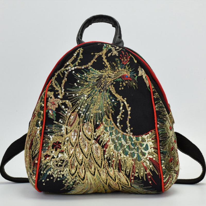 Chinese Style Phoenix Embroidered Backpack Canvas National Tribal Ethnic Embroidered Floral Backpacks Women Back Pack Bag 2018