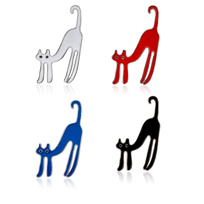 4 Piece Cartoon Animal Pet Lazy Cat Kitten Pins Button Brooch Set Bag Jacket T-shirt Collar Lapel Badge Jewelry