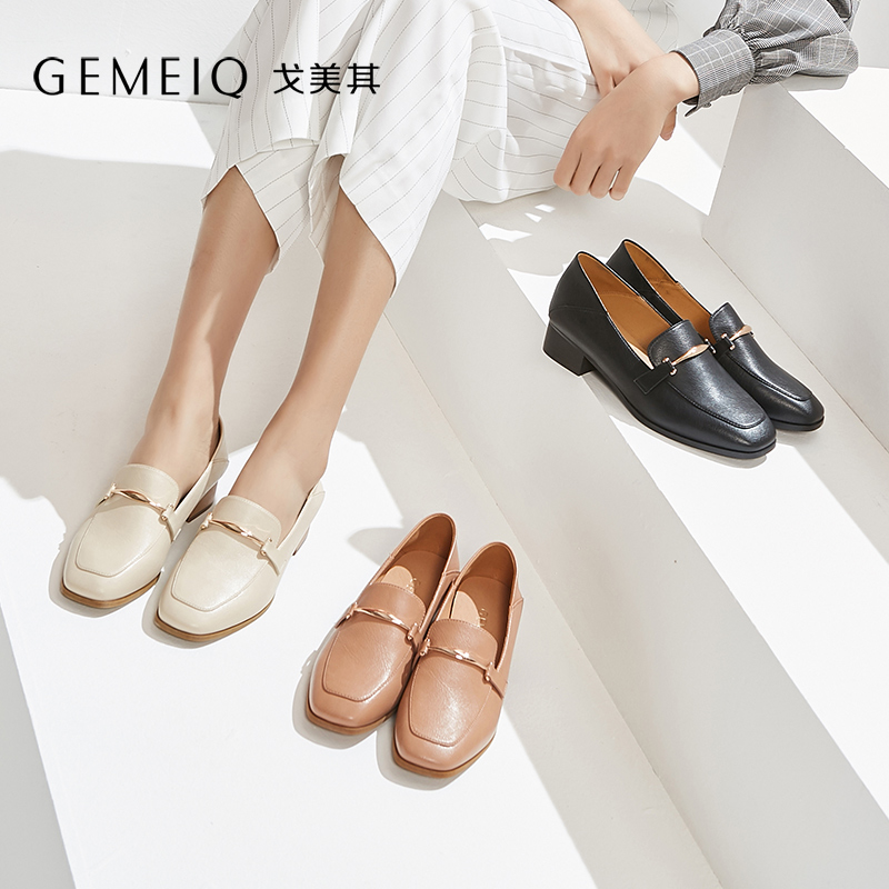 GEMEIQ 2019 Spring New middle openning Square toe Retro Fashion nude Shoe Medium heel Bold heel British Casual Women Shoes GEMEIQ 2019 Spring New middle openning Square toe Retro Fashion nude Shoe Medium heel Bold heel British Casual Women Shoes