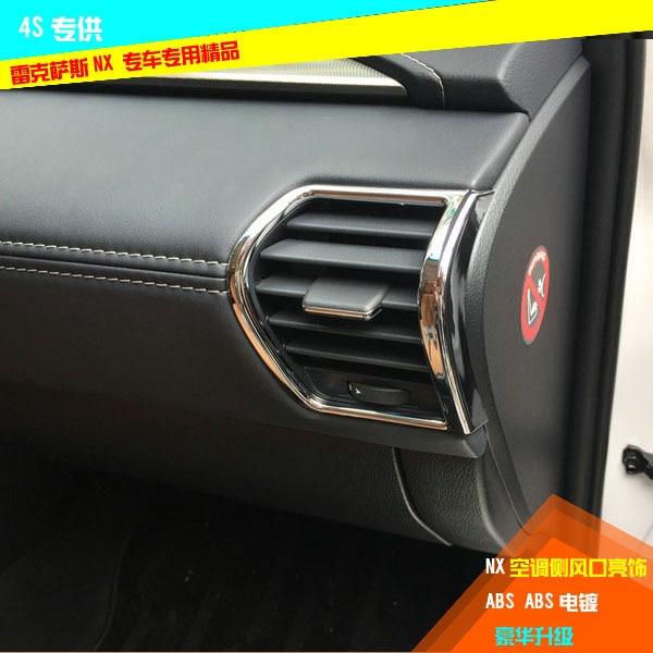 Accessories For Lexus NX200 NX200t NX300h Inner Air Vent Trims Abs Chrome Air Vent Cover Car Sticker Car-Styling 2015 2016 2pcs