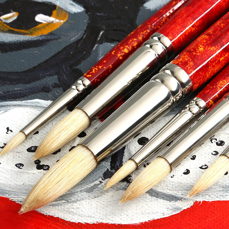 Bgln 6pcs/Set Watercolor Paint Brush Set Round Head Super Quality Oil Acrylic Painting Brush For Drawing Art Supplies 711a