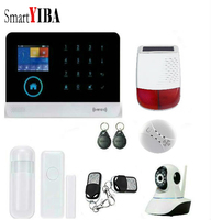 SmartYIBA WIFI GSM RFID Security Home Intruder Alarm System Wireless Android Russian Spanish Voice Solar Siren Smoke Door Sensor