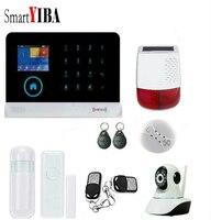 SmartYIBA WIFI GSM RFID Sicherheit Home Intruder Alarm System Wireless Android Russische Spanisch Stimme Solar Sirene Rauch Tür Sensor-in Alarm System Kits aus Sicherheit und Schutz bei
