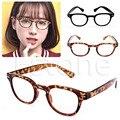Retro óculos de Leitura Óculos de Leitura Óculos de Armação Redonda Rimed Óculos com estampa de Leopardo-Preto 100 ~ 400