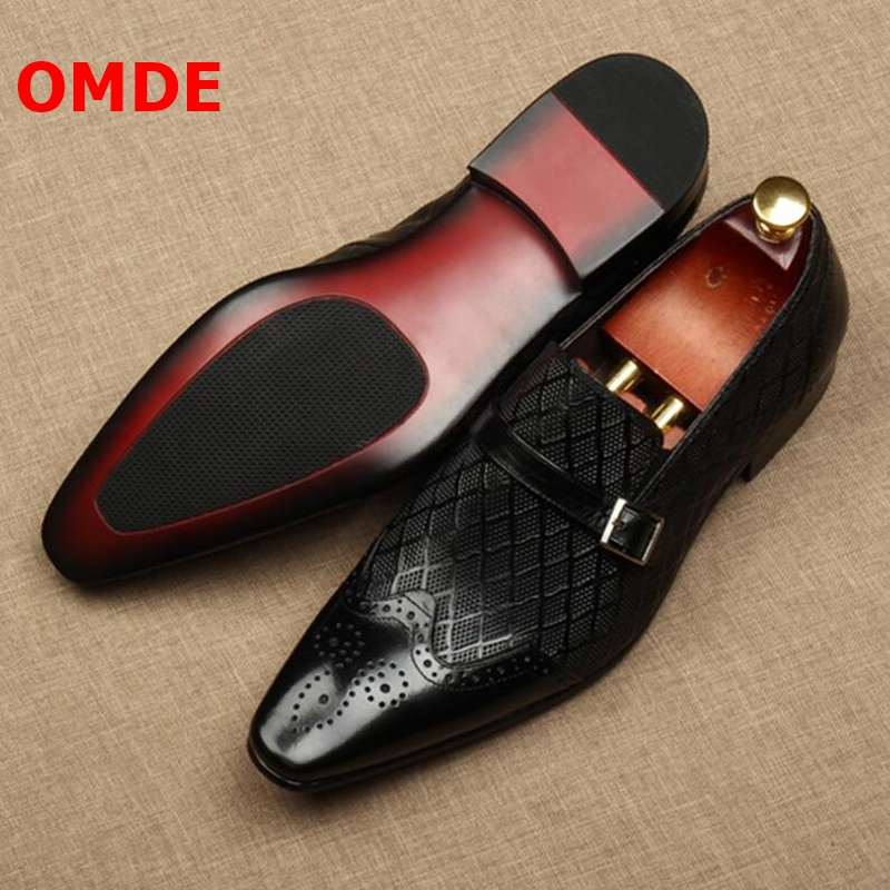 OMDE New Men Dress Shoes Fashion Pointed Toe Buckle Slip On Groom Wedding Shoes Men's Office Shoes Banquet And Prom Shoes