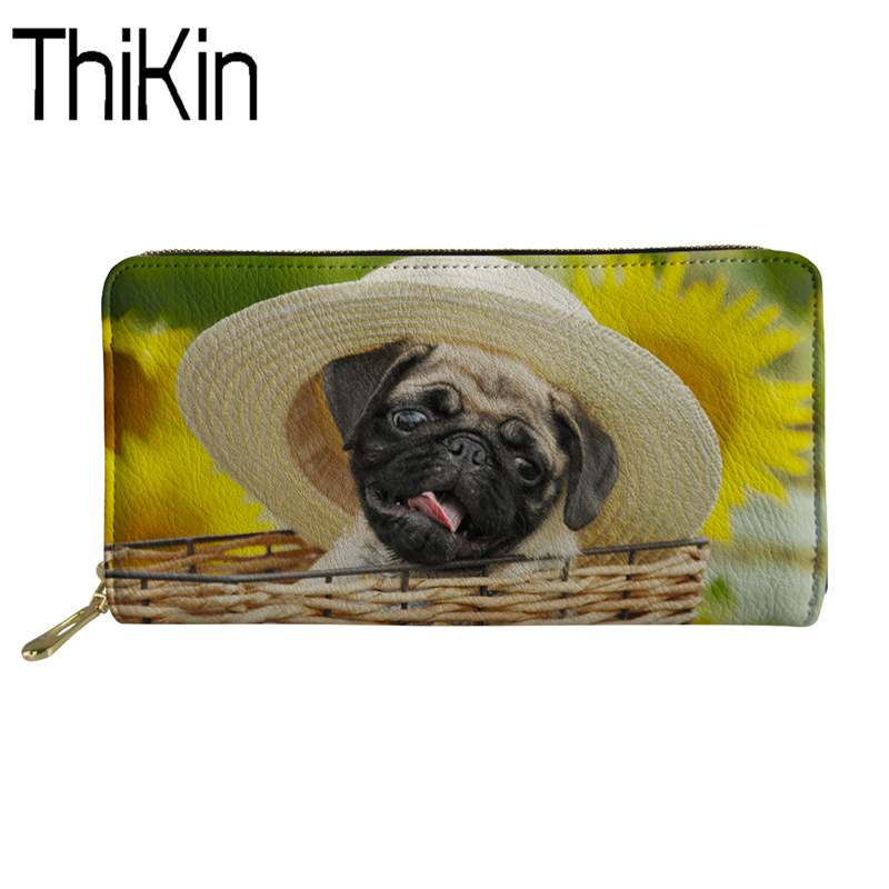 THIKIN Wallet Women Coin Purses&Holders for Girls Mini Purses& Wallets Pug Print Men PU Leather Slim Rfid Wallet Coin Purse Male