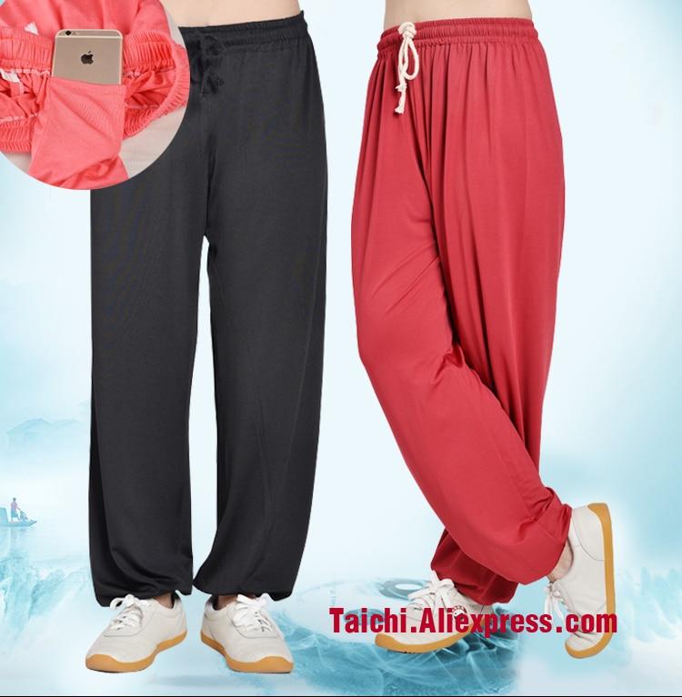 Tai Chi Hose Wushu Kung Fu kampfkunst Hosen Modal Stoff schwarz rosa rot blau violett weiß