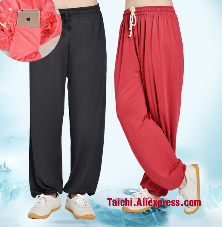 Tai Chi Pants Wushu Kung Fu Martial Art Pants  Modal Fabric Black Pink Red Blue Purple  White