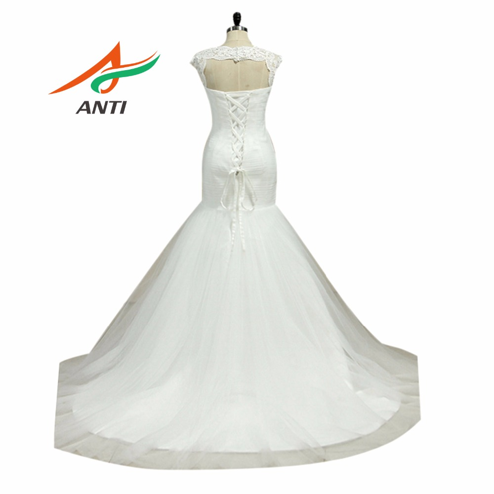 ANTI Trendy Cross Shaped Pleat Mermaid Wedding Dress Simple Organza ...