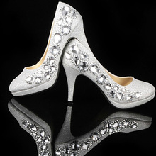 Luxury Crystal Diamond Lady Shoe for Wedding Party Ball Prom Pageant Elegant Event Beaded High-heeled Bridesmaid Bridal Shoes