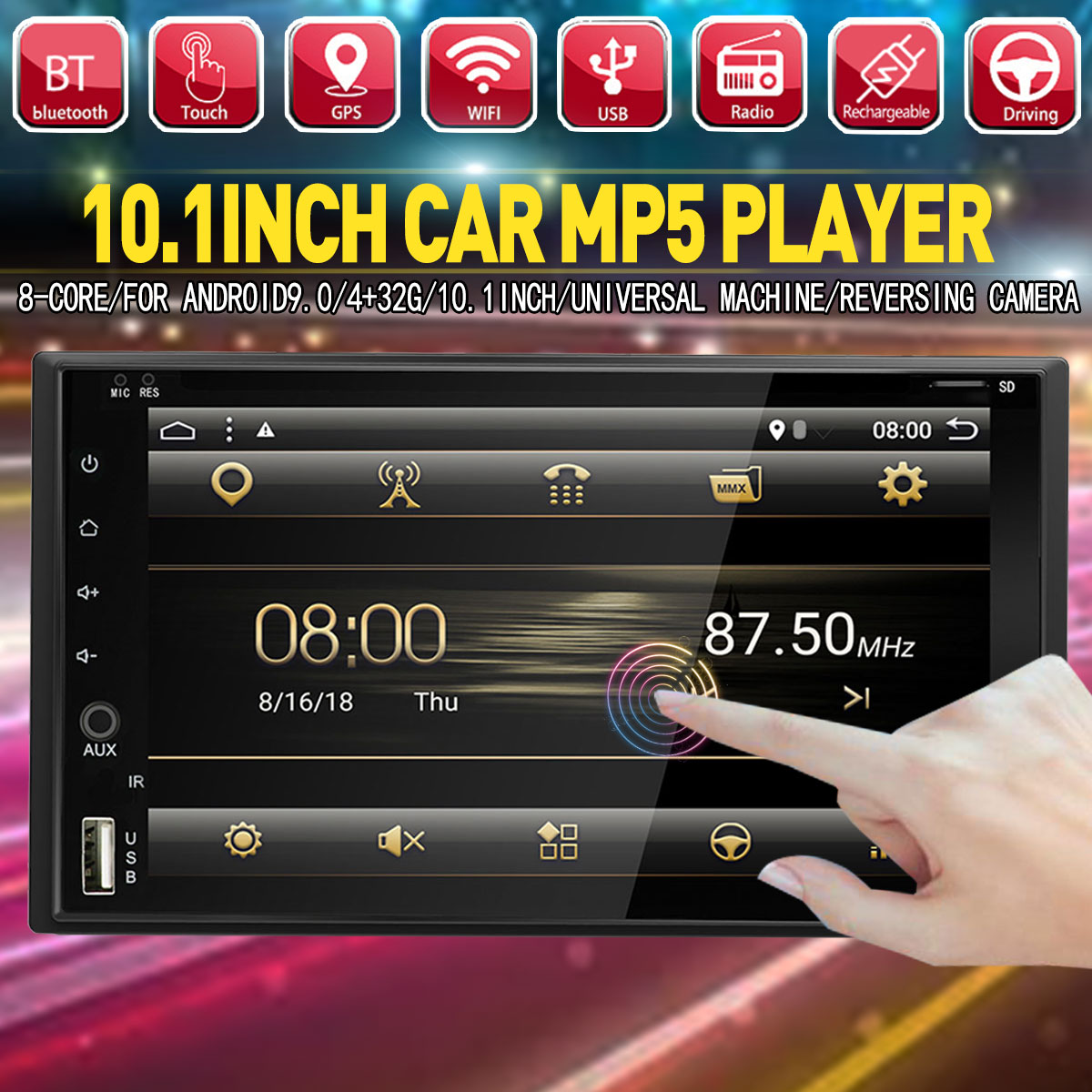 10.1 Android 9.0 8core 4+32G Car MP5 Player PX6 bluetooth Radio GPS 2DIN Touchable Car Multimedia Player with Backup Camera10.1 Android 9.0 8core 4+32G Car MP5 Player PX6 bluetooth Radio GPS 2DIN Touchable Car Multimedia Player with Backup Camera