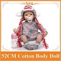 Lobo Estilo 52 cm 21 inch NPK Marca Renacer Baby Dolls Para venta Con Tejido Mixto de Algodón Mamelucos + Sombrero Suéter de Alta Calidad Brinquedo