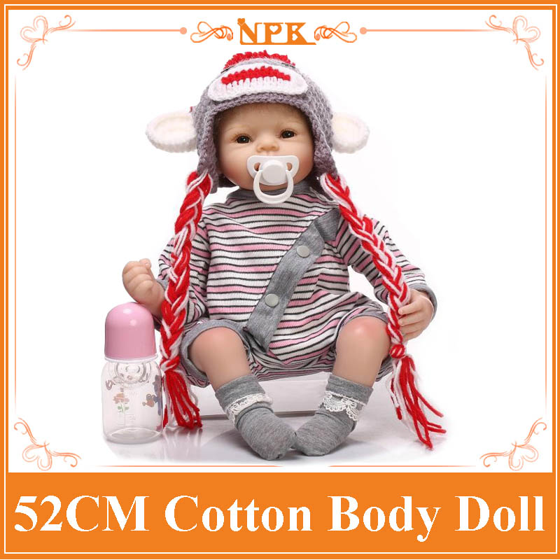 Wolf Style 52cm 21inch NPK Brand Reborn Baby Dolls For Sale With Cotton Mixed Fabric Rompers +Sweater Hat High Quality Brinquedo 52cm 21inch npk brand kawaii reborn baby dolls made by 100