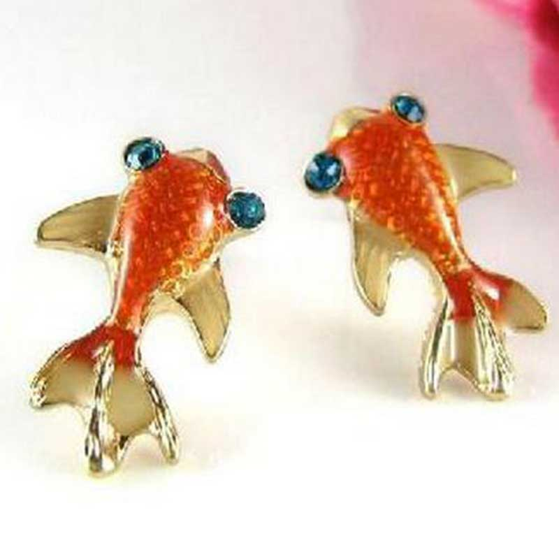 Misananryne 1 Pair Cute Lovely Goldfish Glazed Stud Earrings Charming Fine Jewelry Drop Shipping 19mm Whole Price In From