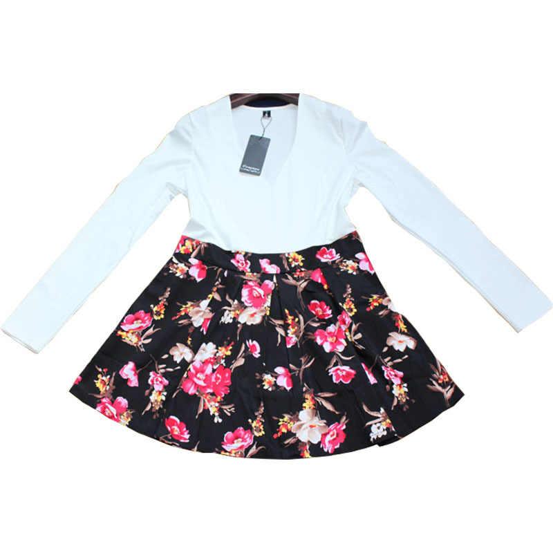 Kadın yaz elbiseler 2020 modelleri seksi düşük kesim v yaka uzun kollu çiçek patchwork Mini elbise Vestidos ropa mujer ONY006