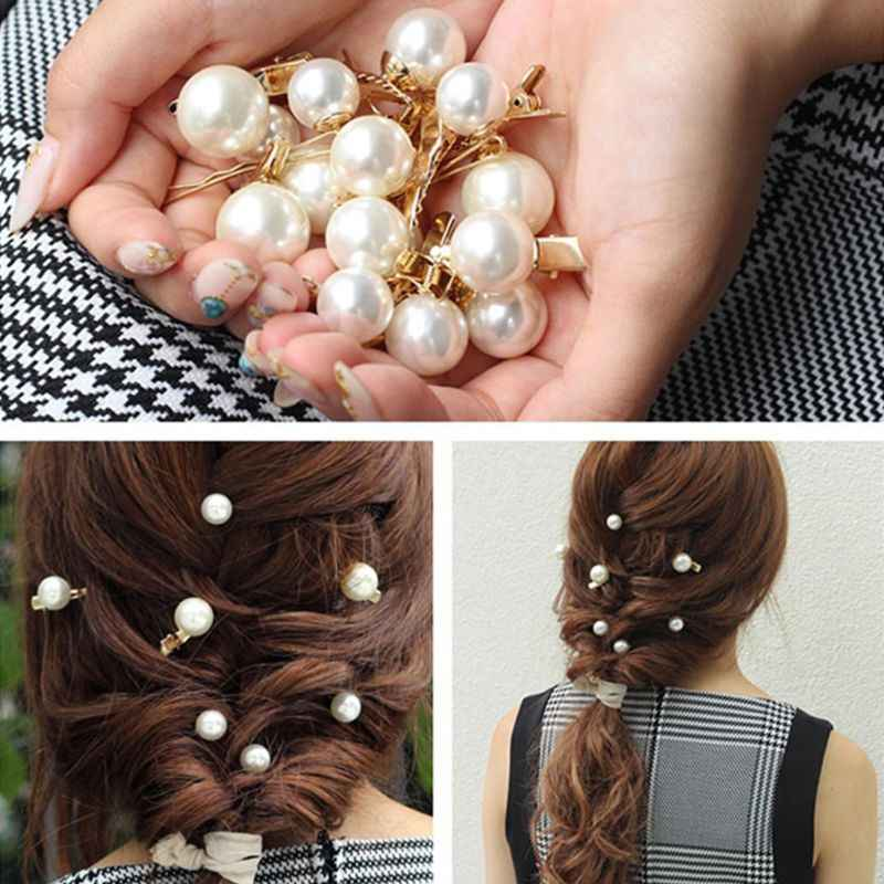 Korean Ladies Large Imitation Pearl Ball Duckbill Hair Clips Jewelry Luxury Metal Alloy Hairpins Mini Party DIY Styling Barrette