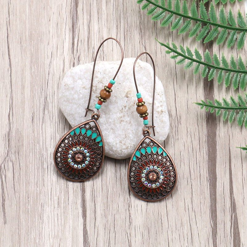 2019 New Bohemia Bohemian Ethnic Hollow Water Shaped Drop Earrings For Women Fashion Jewelry in Drop Earrings from Jewelry Accessories