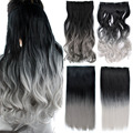 "150g 26"" Long Wavy 5 Clips Heat Resistant Synthetic Clip in Hair Extensions Black To Gray Gradient Ombre Hairpiece Accessories"