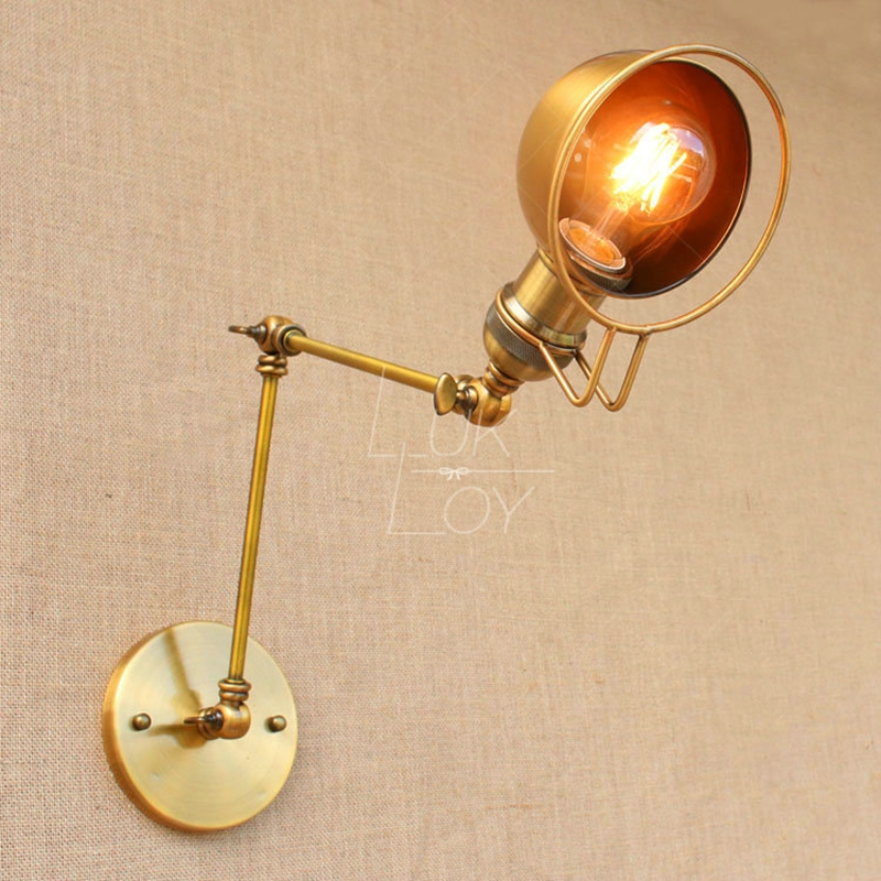 LukLoy Wall Light, E27 Retro Industrial Vintage Adjustable Wall Lamp, Metal Vintage Lighting Fixtures for Home Office Decoration style classical vintage industrial wall light lampshade restaurant office nostalgic umbrella bronze wall light home decoration