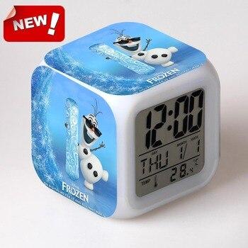 Olaf Allarme Digital Clock 7 Cambiamento di Colore del Display Lcd Orologio Despertador Wake Up Light di Plastica Reloj