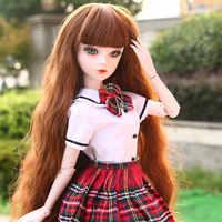 60cm Originele Handgemaakte Bjd Pop 1/3 Fashion Uniformen Schoolmeisje Levensechte Jointed Poppen Meisje Poppen Speelgoed voor Kind Verjaardagscadeau