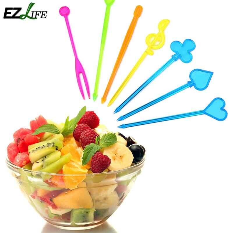 50pcs pack multi colour bento food fruit pick fork sticks Colorful kitchen accessories