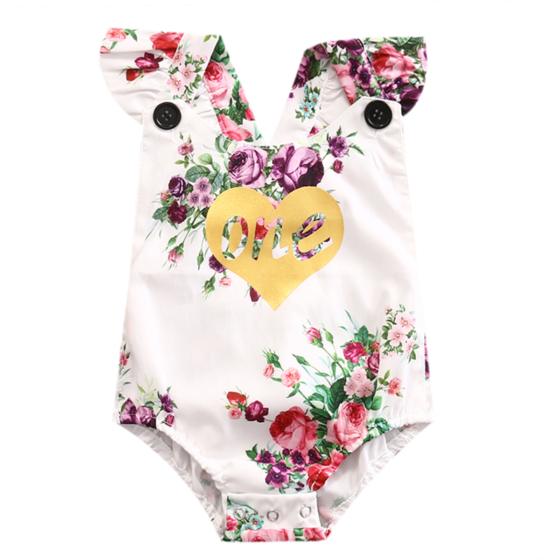 New Casual Newborn Toddler Baby Girl Romper Floral Off Shoulder Jumpsuit Outfit Sunsuit Clothes