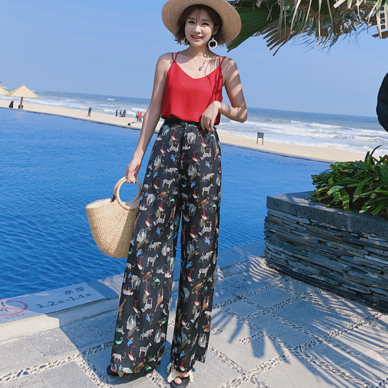 Real shot holiday Thailand female   wide     leg     pants   2019 new large size bohemian   wide     leg     pants   beach travel   pants