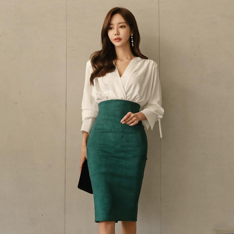 Elegant OL Style 2 Pieces Set V-neck White Blouse & High Waist Suede Hip Package Skirt 2018 Autumn Office Ladies Women Set