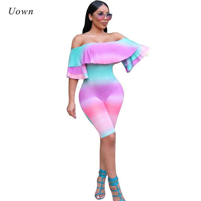 7cd448aa8bc4 2018 New Tie Dye Bodycon Rompers Womens Jumpsuit Off the Shoulder Bodysuit  Flare Sleeve Ruffle Short Playsuit Combinaison Femme