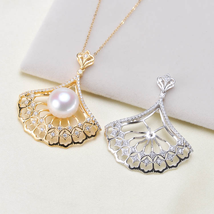 DIY Jewelry 925 Sterling Silver Pearl Pendant Classical Necklace Pendant Setting Findings Parts Fittings Women Accessories