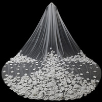 3.5 Meters Long Wedding Veils with Handmake Flowers Cathedral Train Long Bridal Velo Comb Vail Accessories