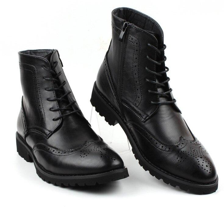 2018 nouvelle mode hommes chaussures en cuir mâle automne hiver chaussures en cuir angleterre style hommes plat décontracté martin bottes - 4