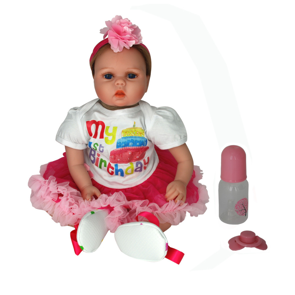 NicoSeeWonder 22 Inch Bonecas Bebe Reborn Baby Dolls Cotton Body Lifelike Reborn Toddler Girl Toys With Rose Skirt Clothes Gift short curl hair lifelike reborn toddler dolls with 20inch baby doll clothes hot welcome lifelike baby dolls for children as gift