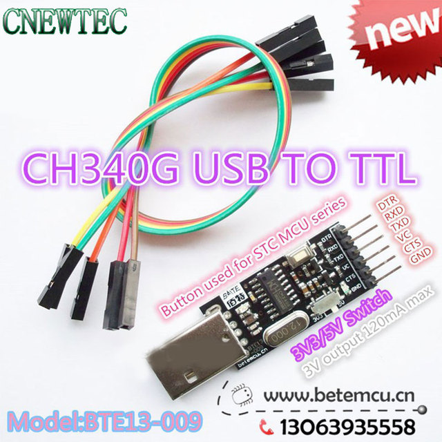 10PCS CH340G CH340 Serial Converter USB 2.0 To TTL 6PIN Module for PRO mini Instead of CP2104 CP2102 PL-2303HX