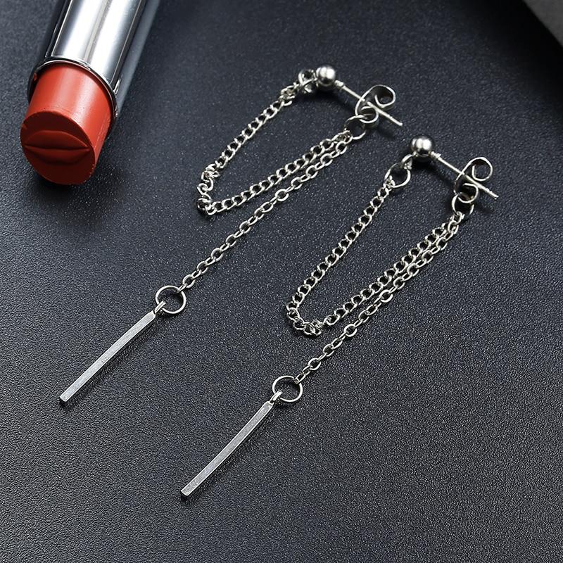 Korean Version Of Jewelry Earrings Tassel Fashion Retro Long Earrings Chain Metal Texture Earrings Wholesale Dangle