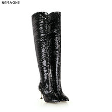 NEMAONE New bling women high heels over the knee high boots winter warm dancing shoes woman ladies party dress club shoes