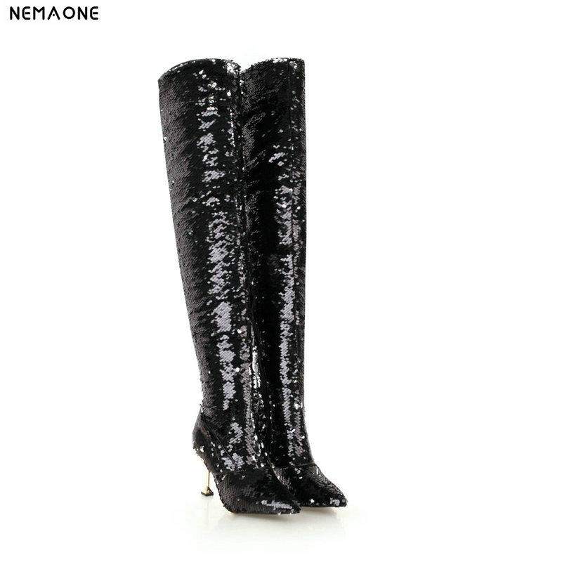 NEMAONE New bling women high heels over the knee high boots winter warm dancing shoes woman ladies party dress club shoes цена