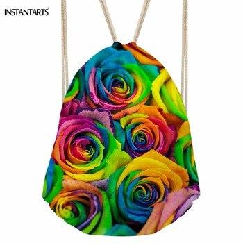 INSTANTARTS Kolor 3D Kwiat Rose Drukuj Kobiety Moda Sznurkami do ściągania Plecaki Torby dla Nastolatek Dziewczyny Miękka Przechowywania Kieszeni Stempla