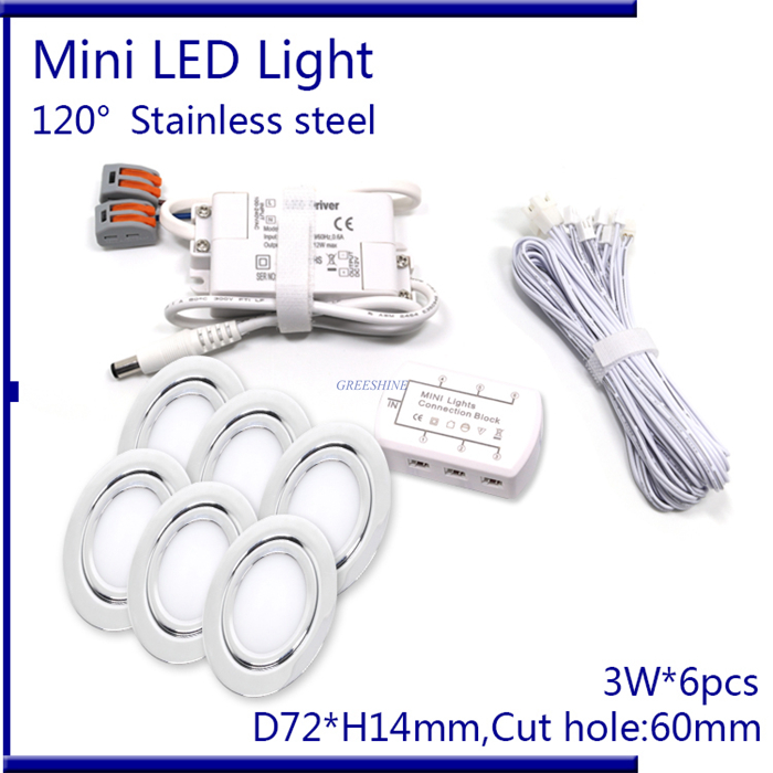 Фотография D72XH14MM 6pcs/set With Driver ,Cable ,Connector 3W Recessed Spotlight PWM Dimming LED Ceiling Light AC110-240V Decoration LED