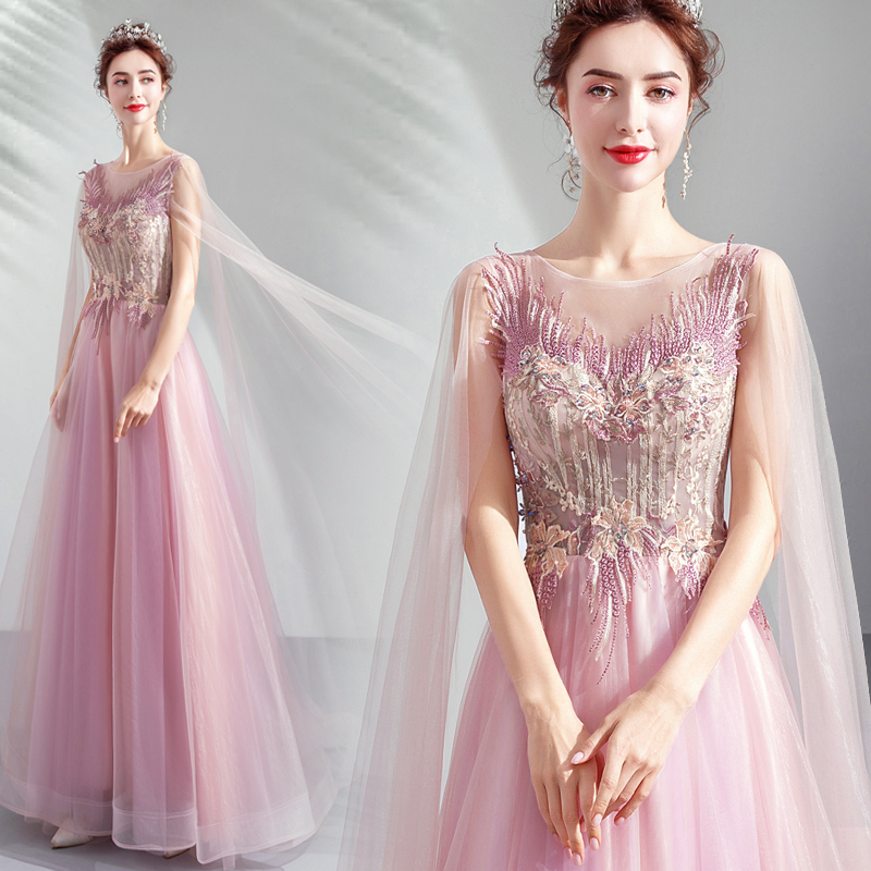 Fée robes de bal Illusion corsage une ligne longue robe de bal Applique perlée 2019 Vestido Longo Festa Gala robe de soirée formelle