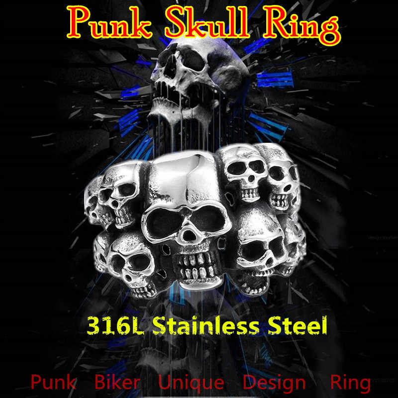 KLDY Gothic pierścień mężczyzn pierścienie czaszki mężczyzna ze stali nierdzewnej w stylu motocyklowym pierścienie dla mężczyzn szkielet punk party biżuteria hurtowych anel caveira