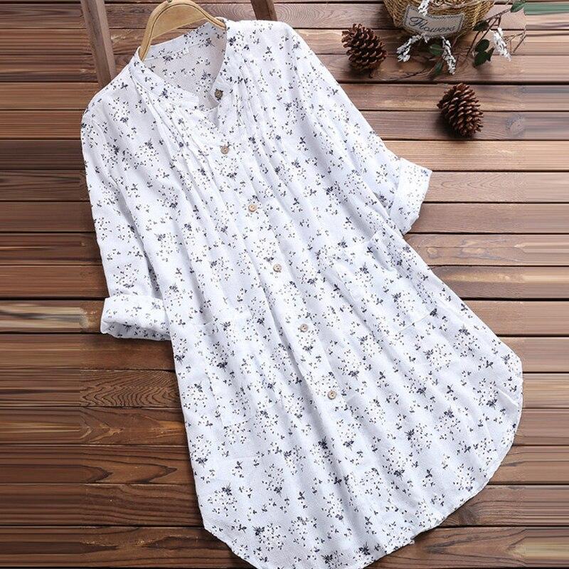 Plus Size 5xl Women Soft Cotton Blouses Vintage Floral Print V Neck Long Sleeve Blouse Tunic Long Blouse Casual Ladies Tops