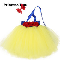 Princess Snow White Yellow Blue Tulle Tutu Dress With Red bow Toddler Bow-knot Knee Length Birthday Party Dresses With Headband
